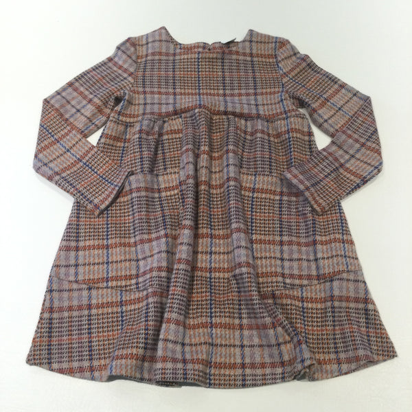 Orange, Pink, Blue & Grey Checked Thick Jersey Dress - Girls 6-7 Years