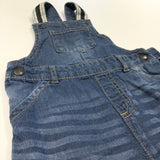 Mid Blue Denim Effect Cotton Short Dungarees - Boys 12-18m
