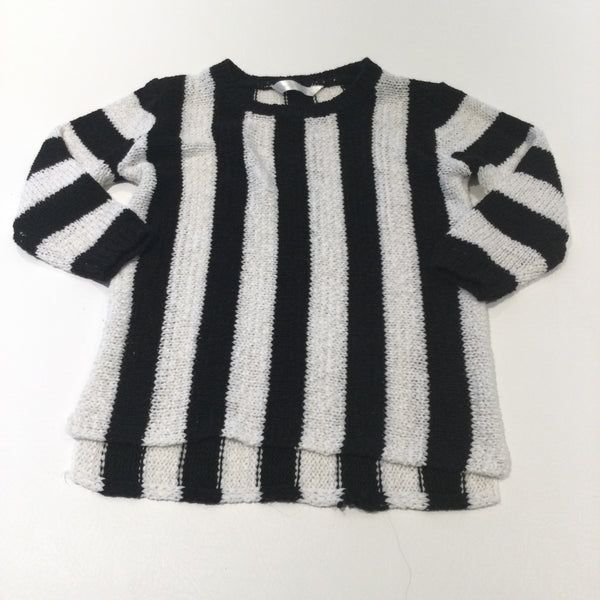 Black & White Striped Lightweight Knitted Jumper with Half-Length Sleeves - Girls 6-7 Years