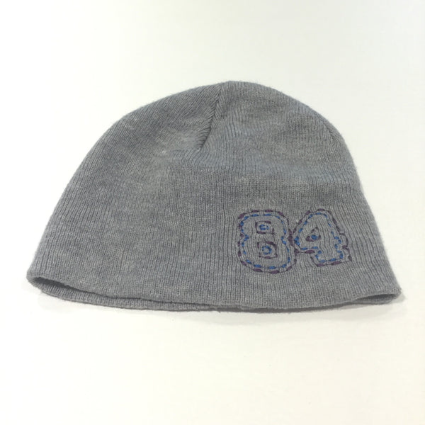 '84' Grey Knitted Hat - Boys 4-6 Years