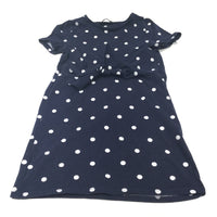 Navy & White Spots Jersey Dress with Tie Front - Girls 5-6 Years