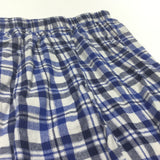 Blue, Navy & Cream Checked Brushed Cotton Pyjama Bottoms - Boys 12-18 Months