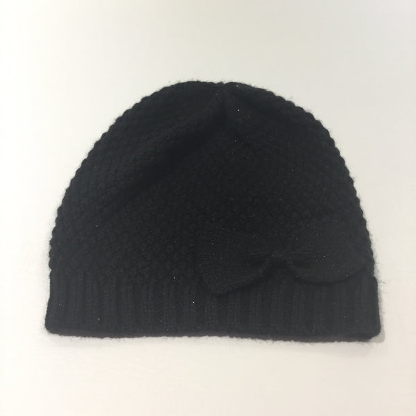 Sparkly Black Knitted Hat with Bow - Girls 7-10 Years