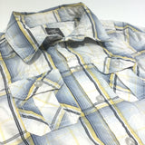 White, Blue, Yellow & Grey Checked Long Sleeve Cotton Shirt - Boys 4-5