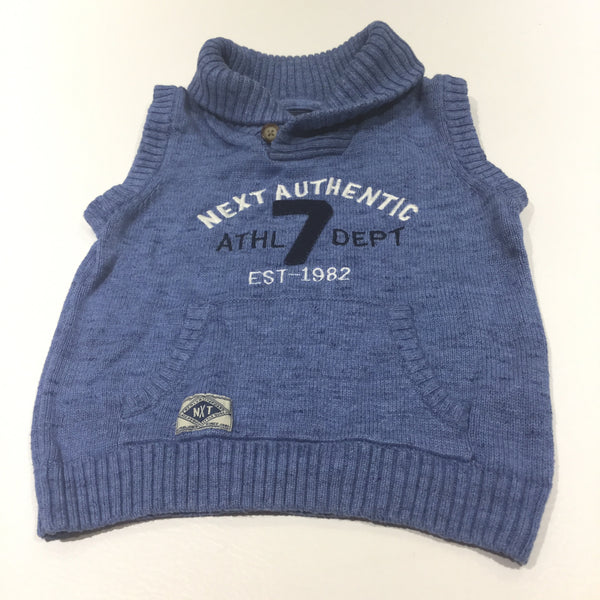 'Next Authentic' Blue Knitted Tank Top with Collar - Boys 18-24 Months