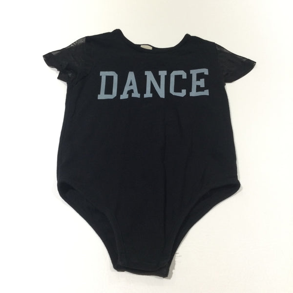 'Dance' Black Leotard with Chiffon Sleeves - Girls 7 Years