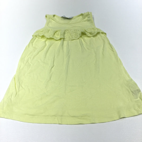 Yellow Jersey Dress with Broderie Detail - Girls 3-4