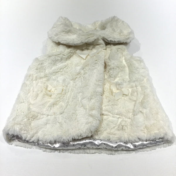 Pale Yellow Soft Fluffy Gilet with Collar & Bows - Girls 2-3 Years