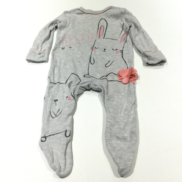 'Hello' Rabbit & Bear Grey & Pink Babygrow with Integrated Mitts - Girls 0-3 Months