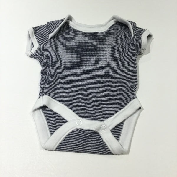 Navy & White Striped Short Sleeve Bodysuit - Boys Newborn