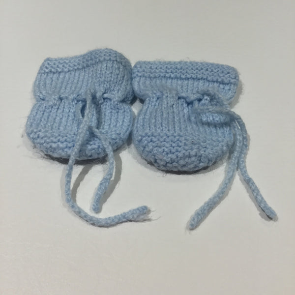 Blue Handknitted Mittens - Boys Newborn