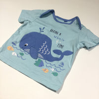 'Having A Whale Of A Time' Appliqued Blue T-Shirt - Boys 3-6m
