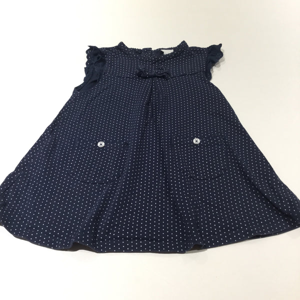 Navy & White Spots Short Sleeve Jersey Dress - Girls 6-9 Months