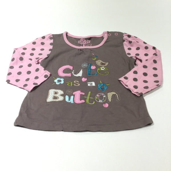 'Cute As A Button' Pink & Brown Long Sleeve Top - Girls 6-9 Months