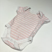 Pink & White Striped Short Sleeve Bodysuit - Girls Newborn