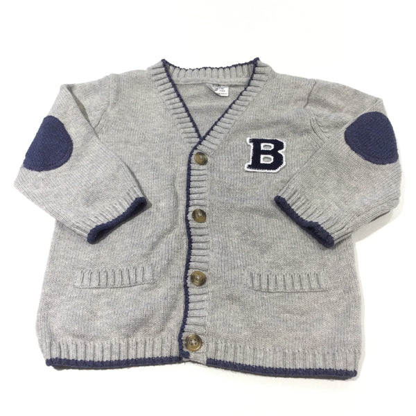 'B' Varsity Style Grey & Navy Knitted Cardigan - Boys 6-9 Months