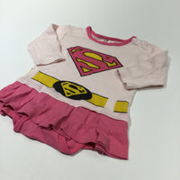 Supergirl Pink Long Sleeve Bodysuit with Attached Skirt - Girls 6-9 Months