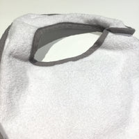 White & Grey Towelling Bib - Boys Newborn