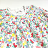 Colourful Fruit & Flowers White Long Sleeve Jersey Dress - Girls Newborn - Up To 1 Month