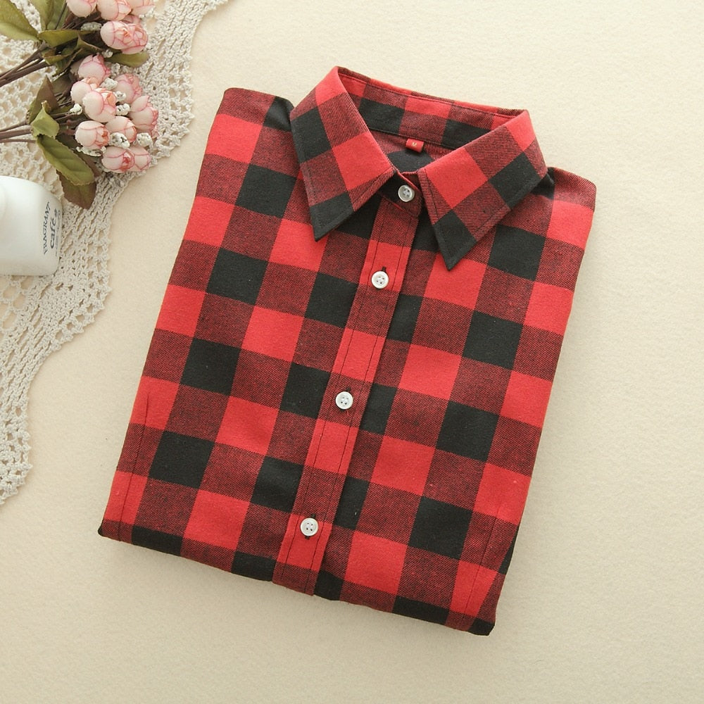 06fd3e975addc 2018 New Brand Women Blouses Long Sleeve Shirts Cotton Red and Black Flannel  Plaid Shirt Casual