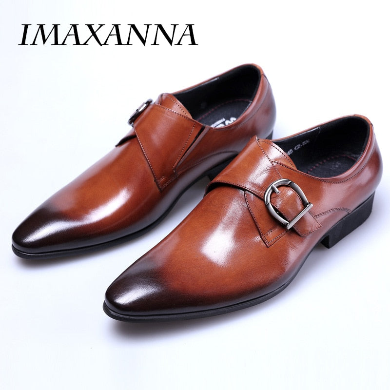 04fa2794290b IMAXANNA 2018 New Men Leather Shoes Man Flat Classic Men Dress Shoes Leather  Italian Formal Oxford