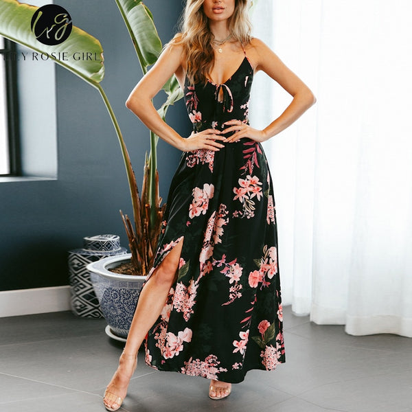 ad29faa8fe90 ... Lily Rosie Girl Red Floral Print Sexy Lace Up V Neck Women Maxi Dresses  Summer Split ...
