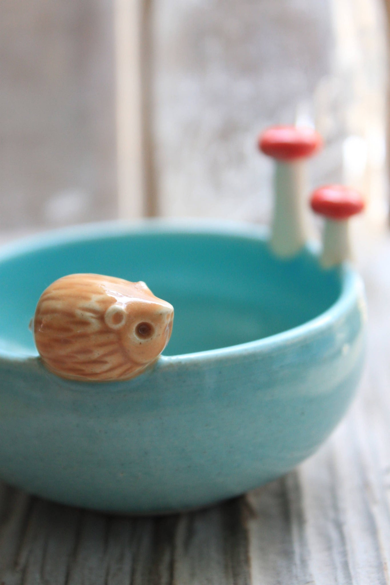 Tasha McKelvey - Small Hedgehog Bowl with Mushrooms