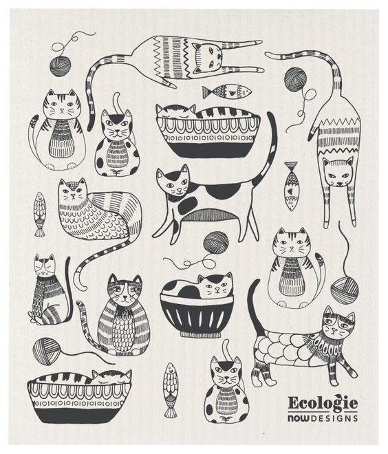 Purr Party Ecologie Swedish Dishcloth