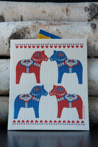 Painted Dala Horse Dishcloth