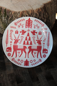 Red Nordic Yuletide Platter