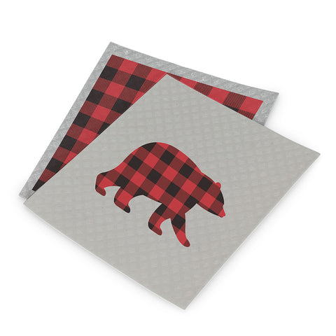 Bear & Check Dishcloth - set of 2