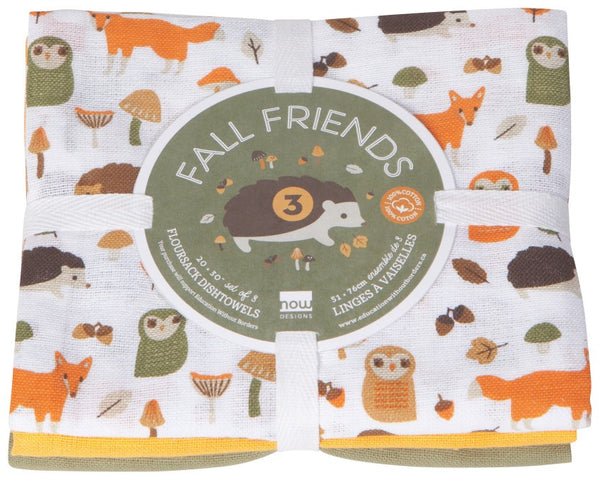 Fall Friends Floursack Dishtowels - 3 pack
