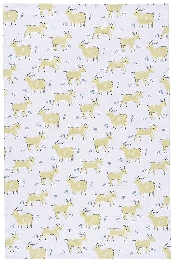 Green Goat tea towel