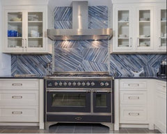 Blue and White kitchen with industrial range