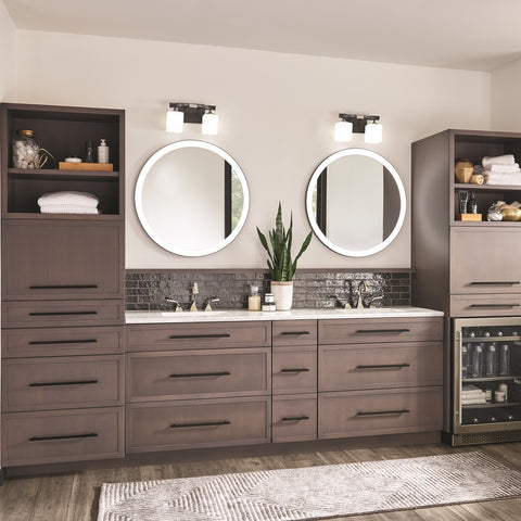 Kichler bathroom round mirror with built in lights and bathroom vanity light