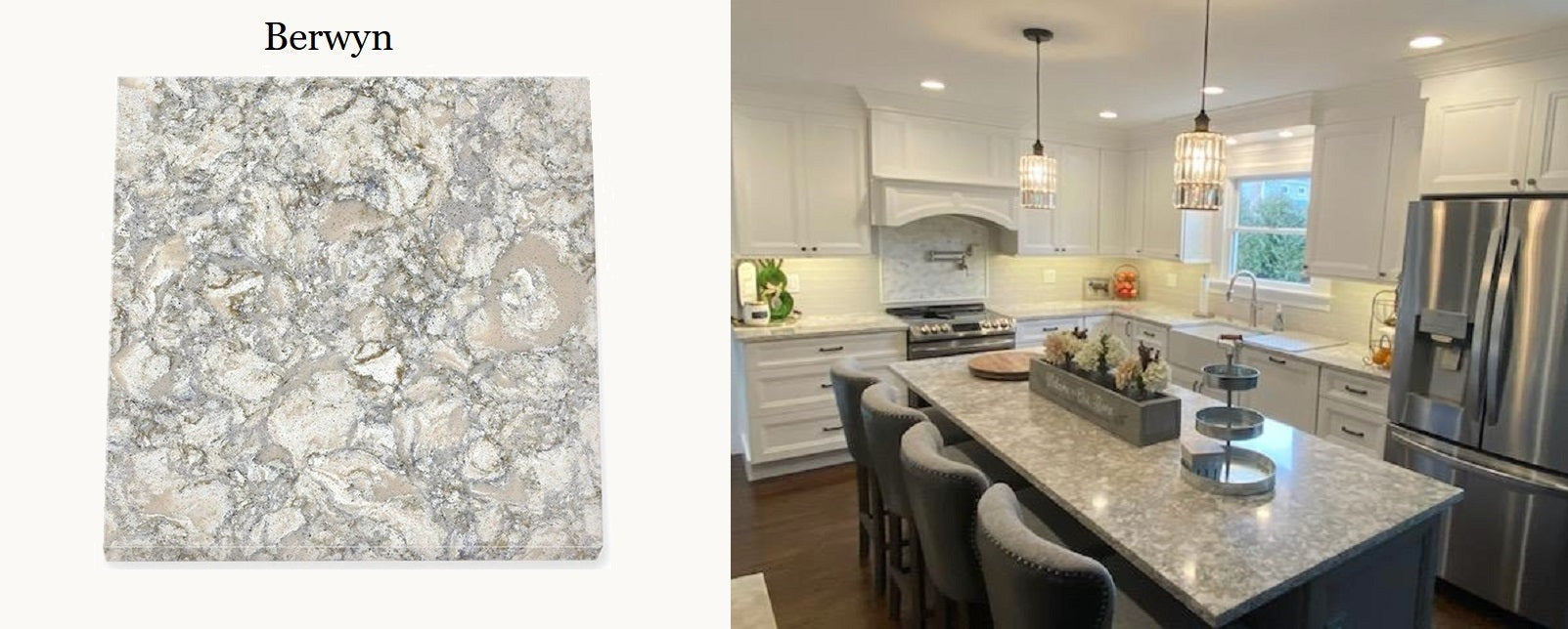 Cambrai Berwyn on white and gray kitchen by DirectCabinets.com
