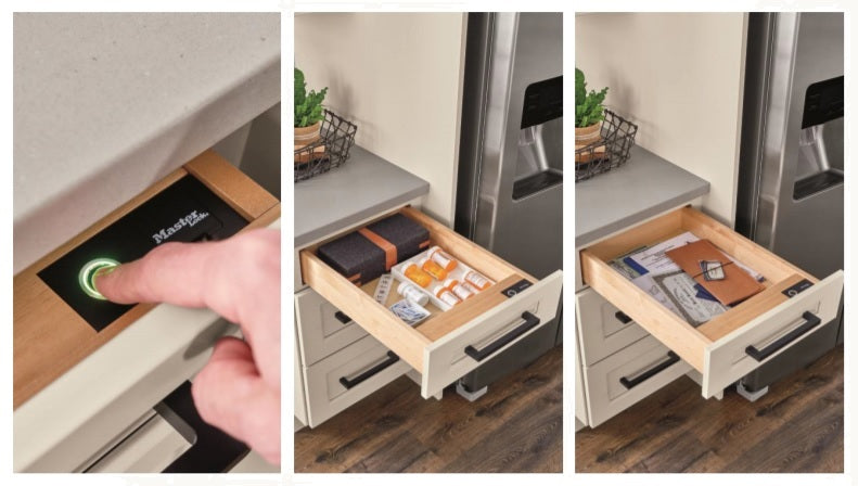 Kemper Cabinetry's Biometric Drawer with Master Lock sensor technology