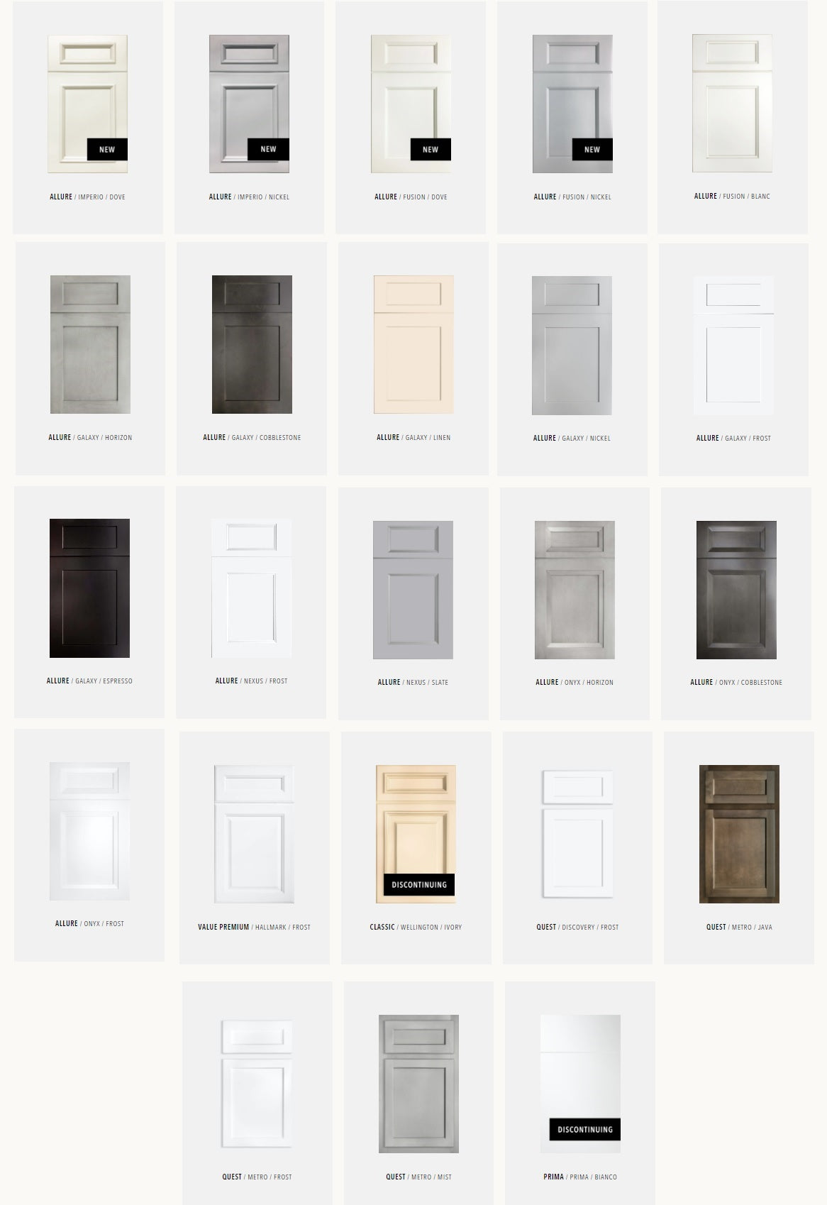 Fabuwood Cabinetry Available Door Styles and Finishes as of January 2021