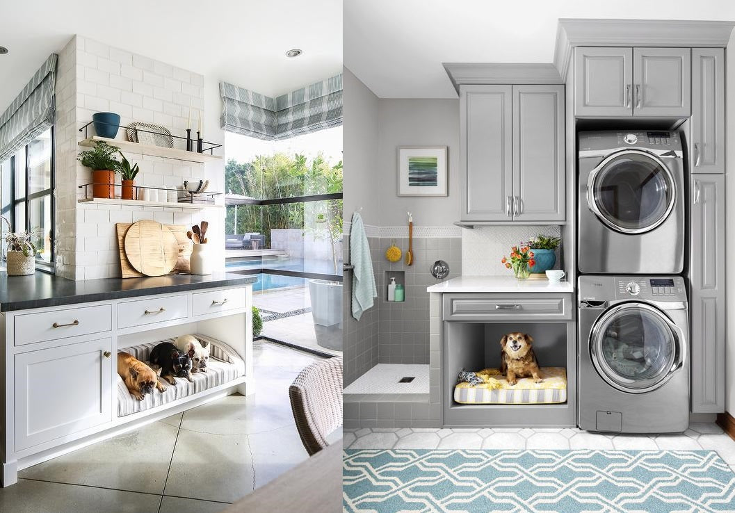 Dog beds with in kitchen and laundry room