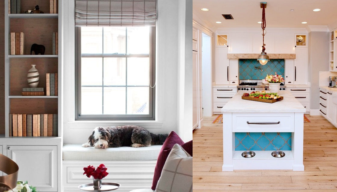 Dog bench and dog bowls incorporated in the kitchen island