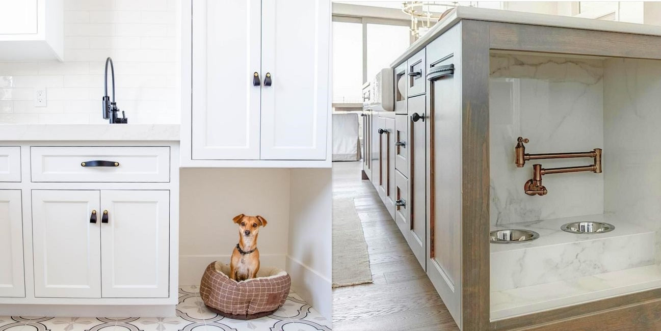 Dog areas incorporated in the kitchen with pot filler water station