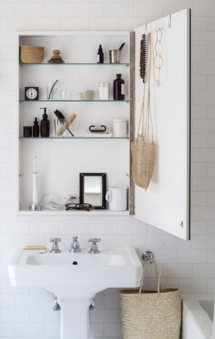 medicine cabinet with built in electrical outlet