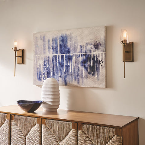 Wall sconces by Kichler over entryway console