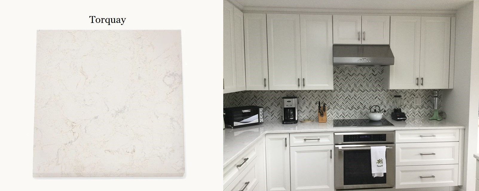 Cambria Torquay in an all white kitchen. DirectCabinets.com