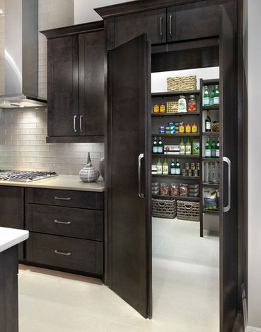 Kemper Cabinets Walk Through Pantry, Chocolate Color, Open