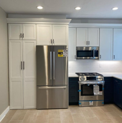 walk through pantry cabinet used in kitchen for stackable washer and dryer cabinet, closed