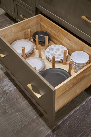 drawer base with peg organizer for plates