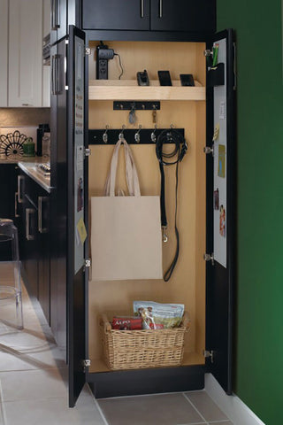 tall drop zone storage, end of kitchen run, masterbrand cabinets