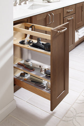 pull out vanity storage for blow dryer and grooming accessories