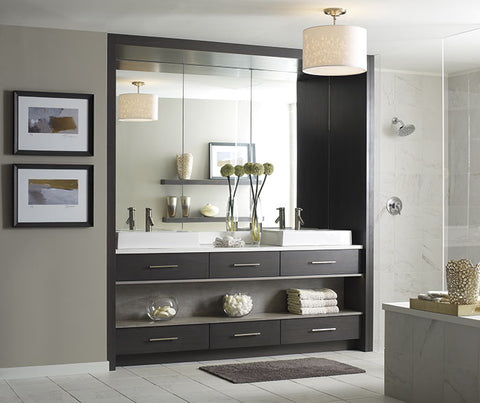 modern floating shelf vanity from wall to wall
